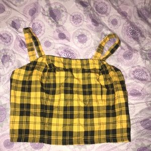 Yellow and black plaid crop top